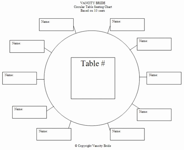 Free Seating Chart Template Unique Circular Table Chart for 10 Guests