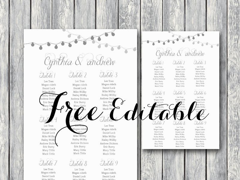 Free Seating Chart Template Unique Free Night Light Wedding Chart Printable