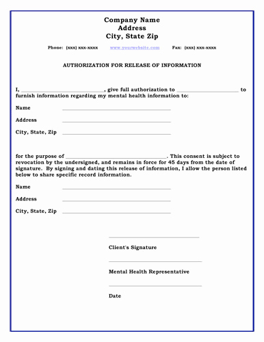 General Release form Template Awesome 26 Of Standard Medical Authorization form Template
