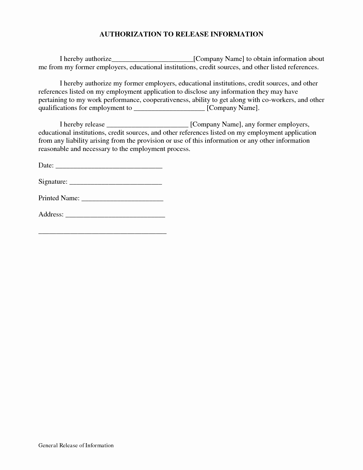 General Release form Template Best Of General Release Information form