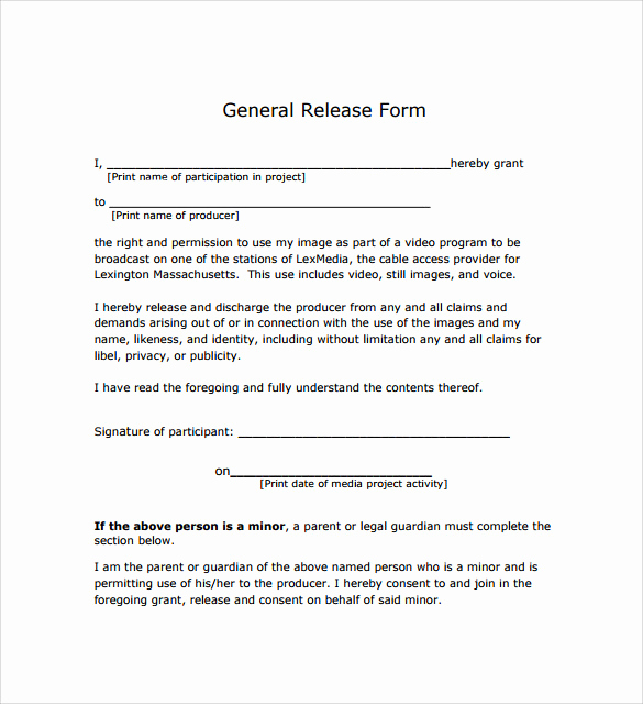 General Release form Template Elegant General Release form 7 Free Samples Examples & formats