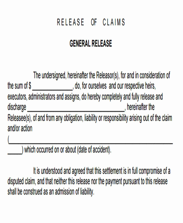 General Release form Template Elegant Sample General Liability Release form 7 Examples In