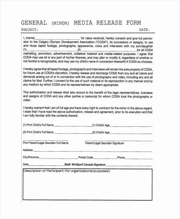 General Release form Template Lovely Release form Templates