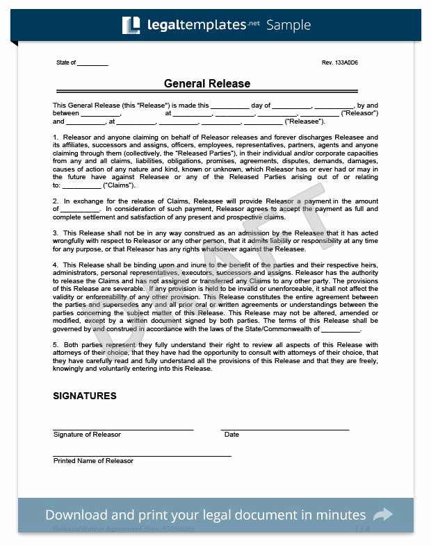 General Release form Template Luxury Free Release Of Liability form