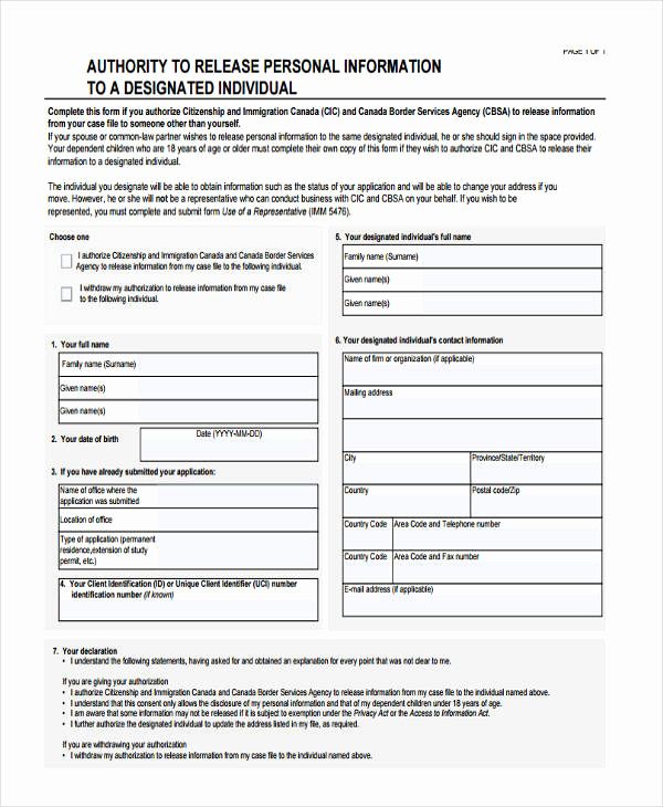 General Release form Template New 16 General Release Of Information form Templates