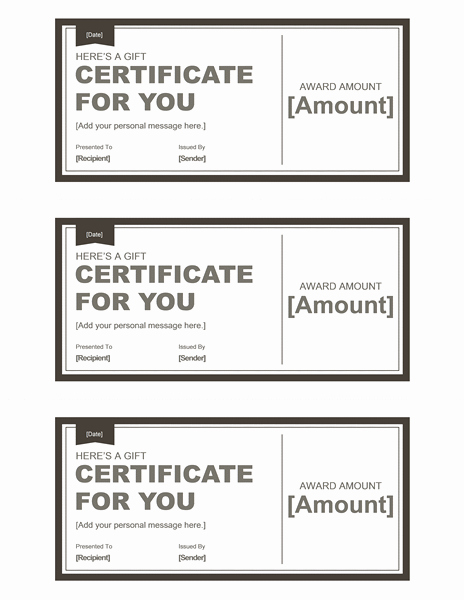 Gift Certificate Template Pages New Certificates Fice