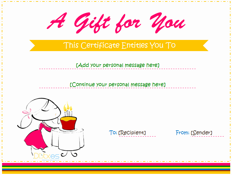 Gift Certificate Template Pages Unique Birthday Gift Certificate Templates for Girls and Boys