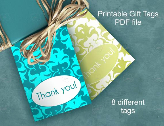 Gift Tag Template Word Unique Thank You Damask T Tags Printable Craft Tags Diy
