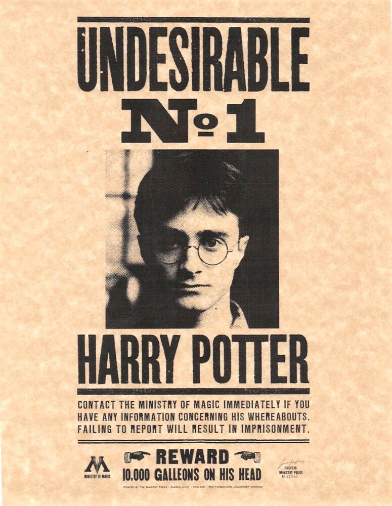 Harry Potter Wanted Poster Awesome Harry Potter Undesirable Number 1 Wanted Poster Daniel