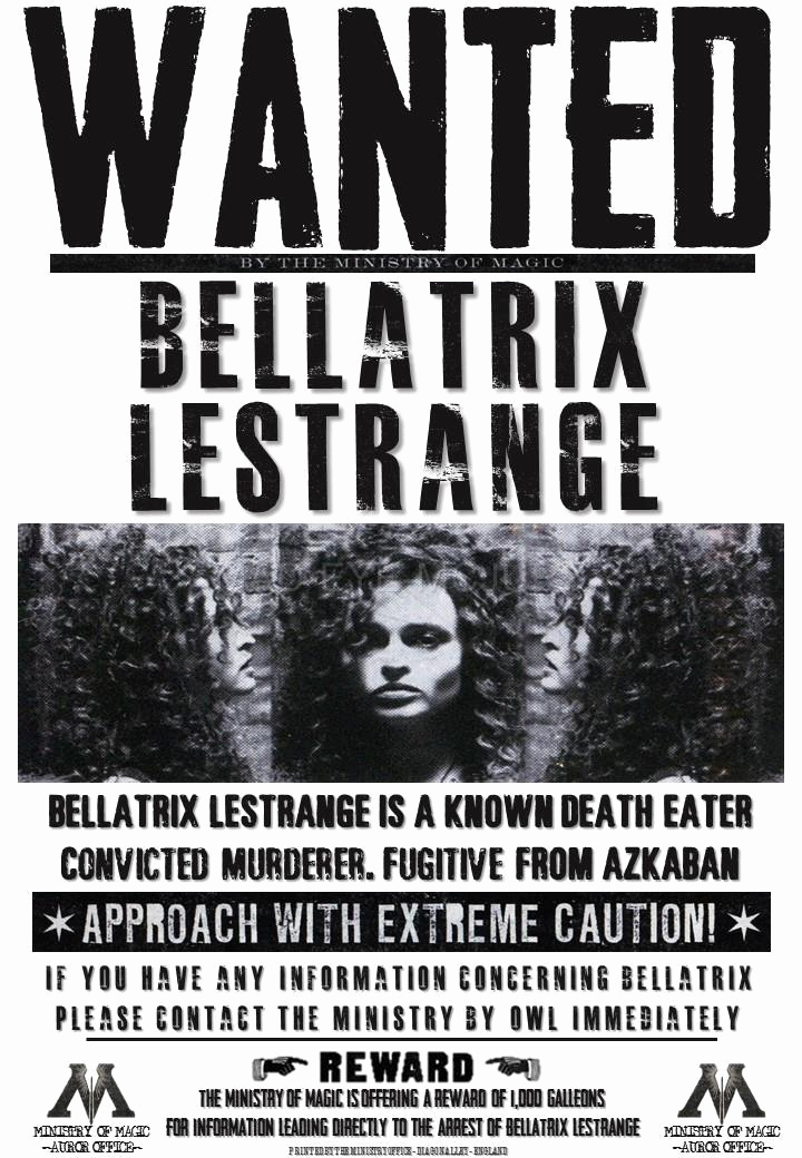 Harry Potter Wanted Poster Best Of Harry Potter Hogwarts S Bellatrix Fenrir Scamander