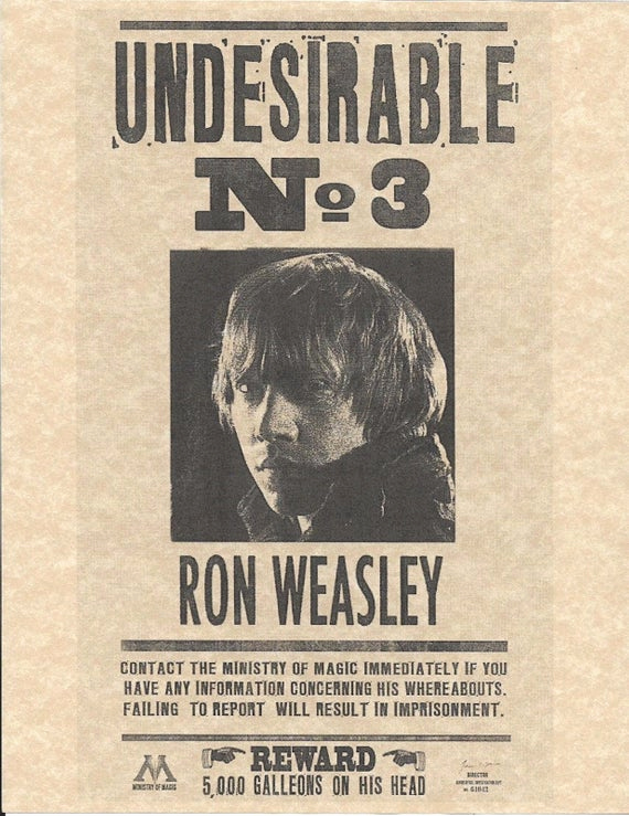 Harry Potter Wanted Poster Elegant Harry Potter Undesirable Number 3 Ron Weasley Wanted