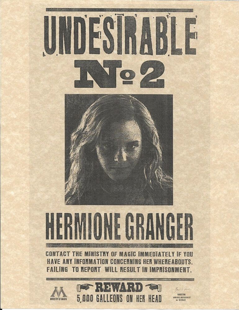 Harry Potter Wanted Poster Lovely Harry Potter Undesirable Number 2 Hermione Granger Wanted