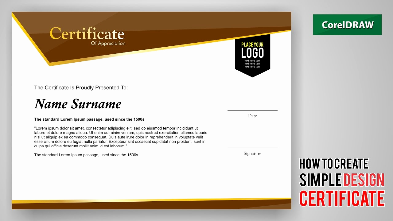 How to Make A Certificate New Tutorial How to Create Design A Certificate with Coreldraw