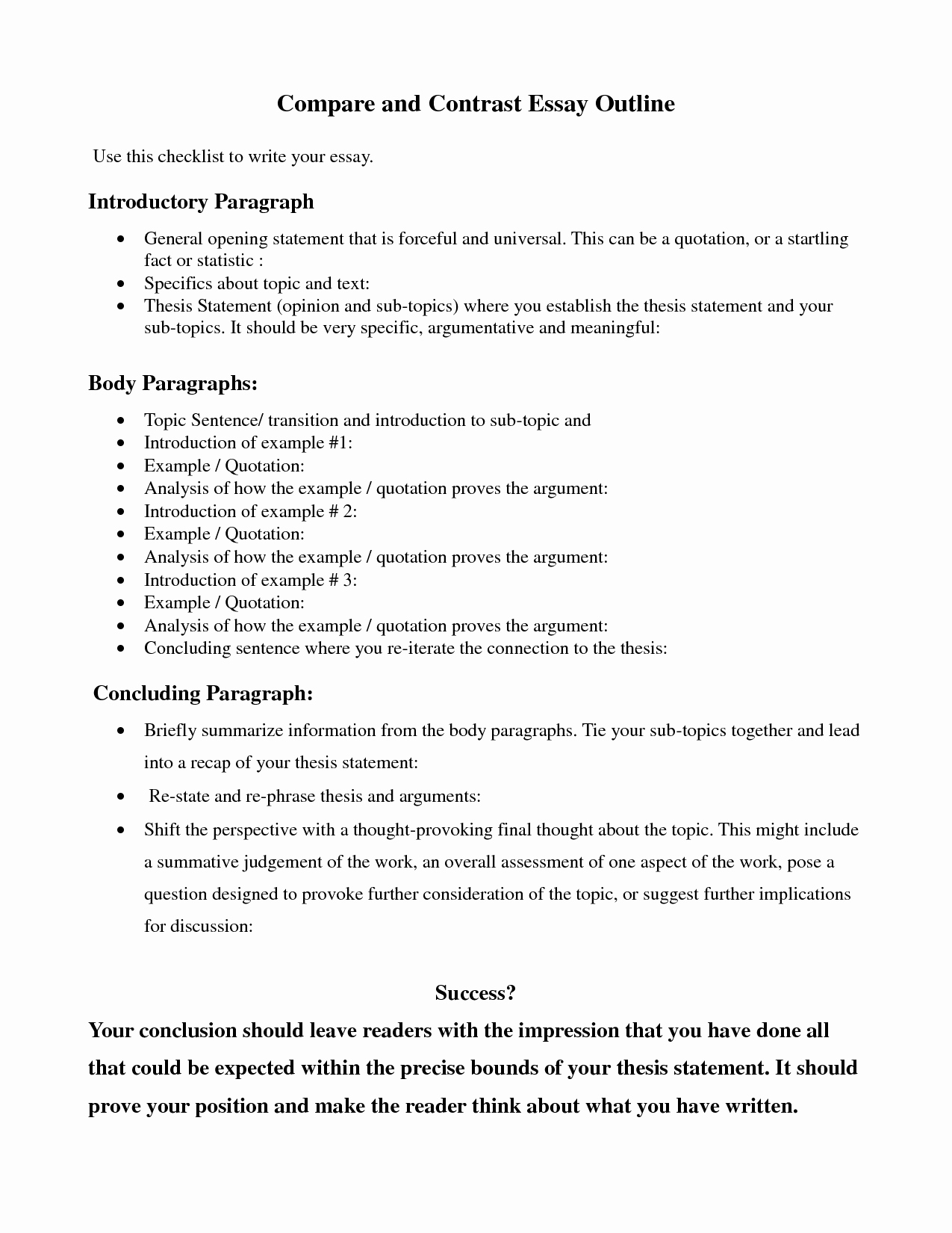 How to Outline An Essay Inspirational Pare Contrast Essay Outline Google Search