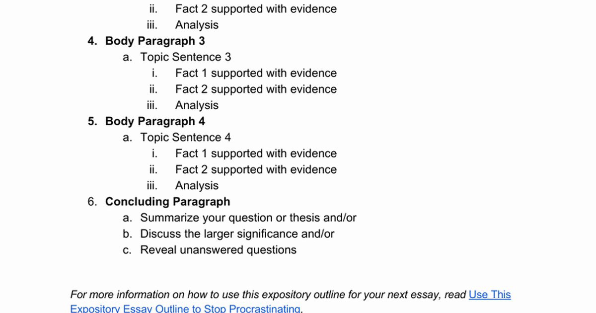 How to Outline An Essay Luxury Expository Essay Outline Google Docs