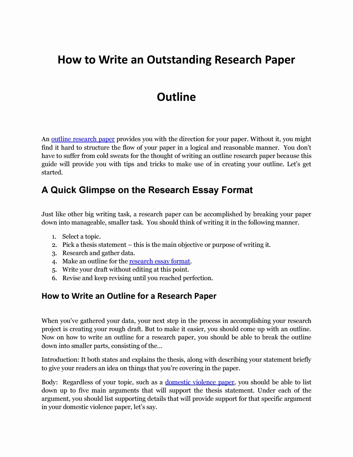 How to Outline An Essay Luxury Writing An Impressive Outline Research Paper by