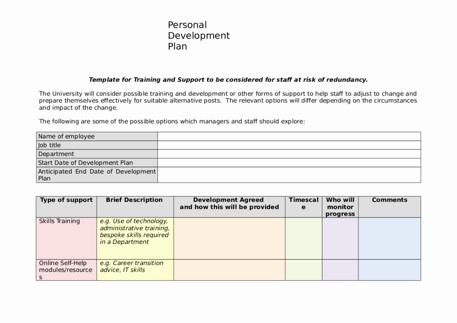 Individual Development Plan Template Fresh 2019 Personal Development Plan Fillable Printable Pdf
