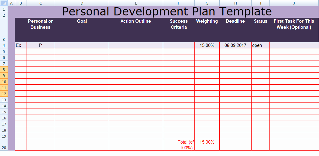 Individual Development Plan Template Fresh Get Personal Development Plan Template Excel