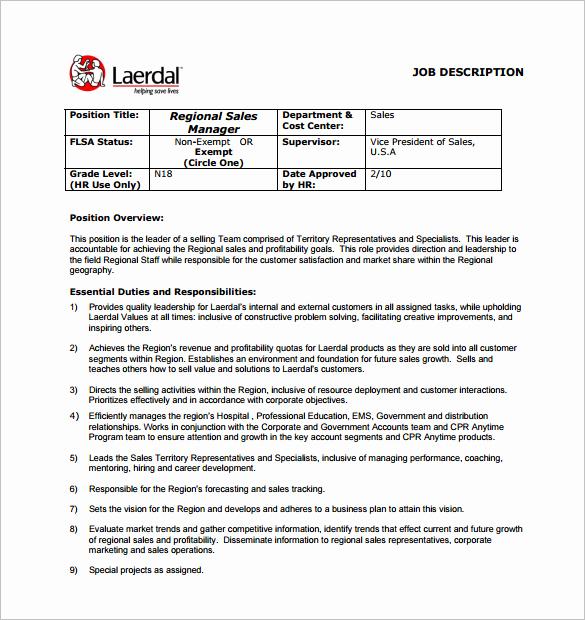 Job Description Template Word Beautiful Sales Manager Job Description Template 11 Free Word