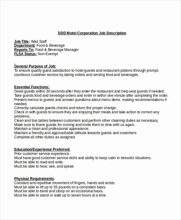 Job Description Template Word Best Of 12 Job Description Templates In Word