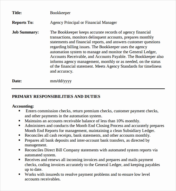 Job Description Template Word Fresh Sample Job Description Template 9 Free Documents