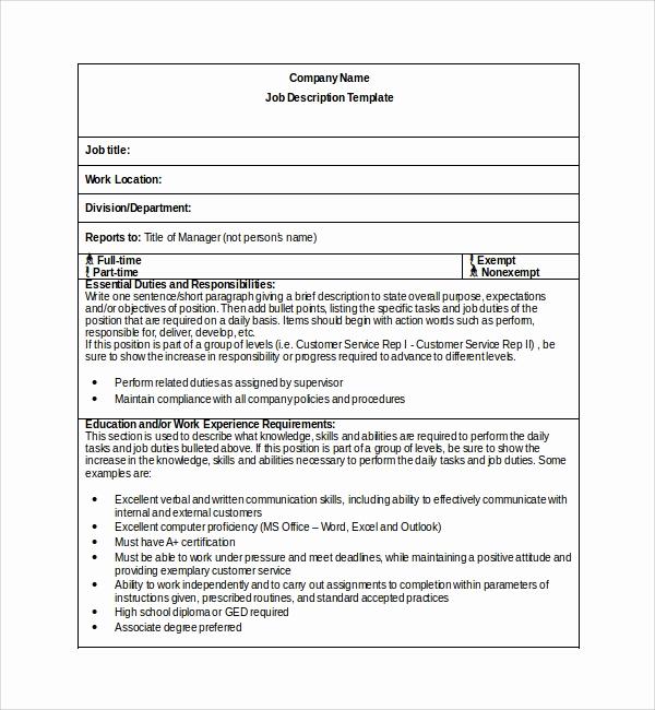 Job Description Template Word Lovely 10 Job Description Templates