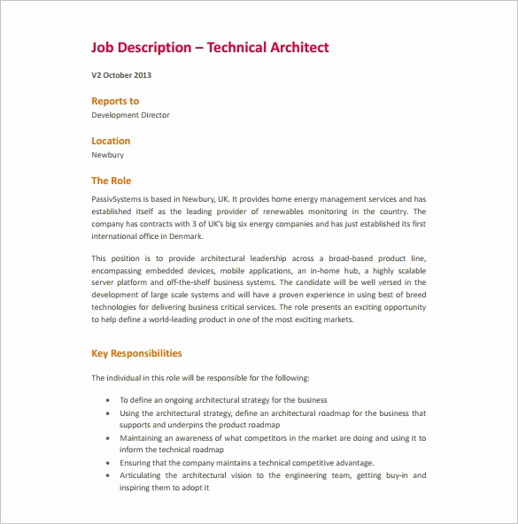Job Description Template Word Lovely 9 Architect Job Description Templates Free Sample