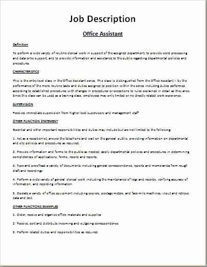 Job Description Template Word Unique 9 Job Description Templates Word Excel Pdf formats