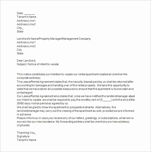 Landlord Notice to Vacate Elegant Notice Templates 104 Free Word Pdf format Download