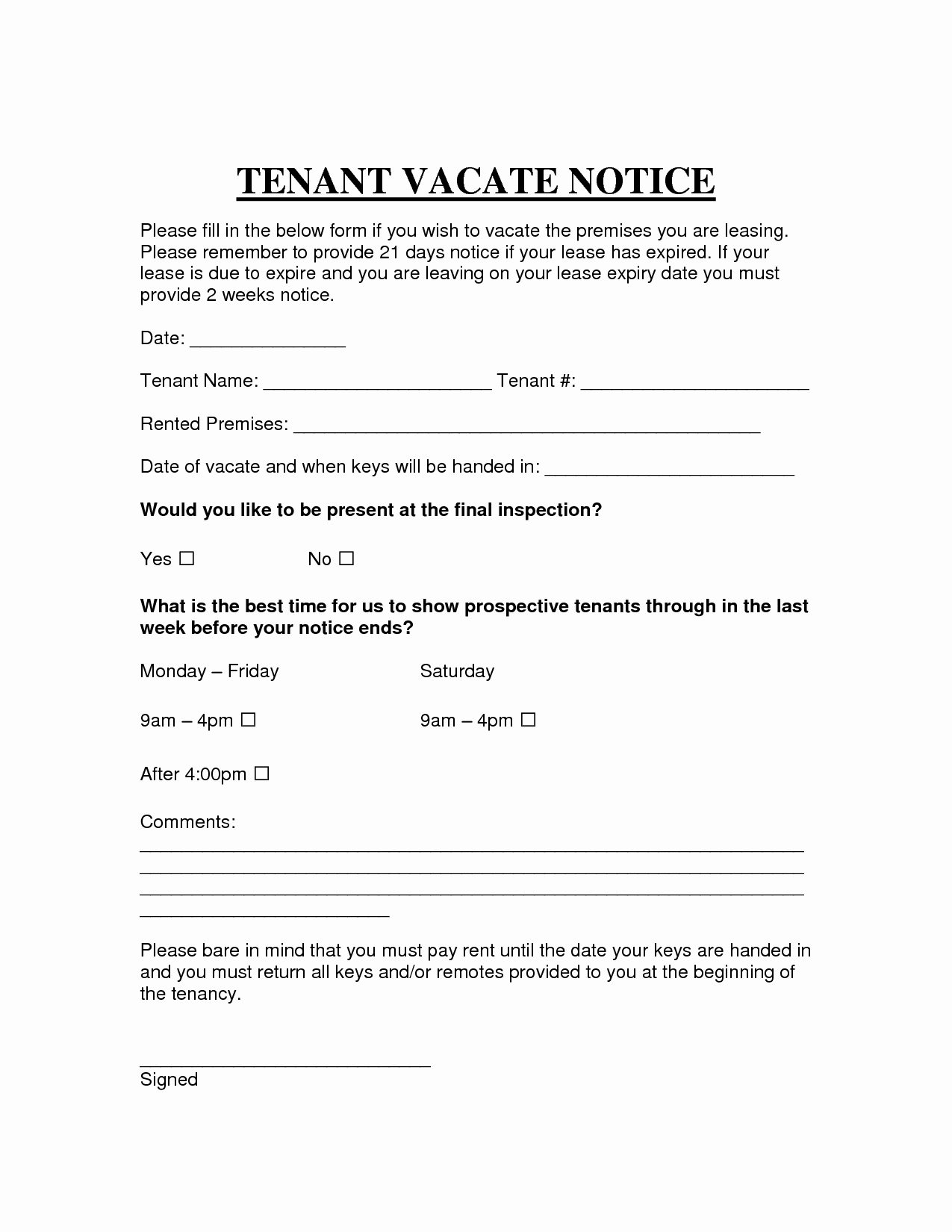Landlord Notice to Vacate Lovely Free Printable Intent to Vacate Letter Template Vacate