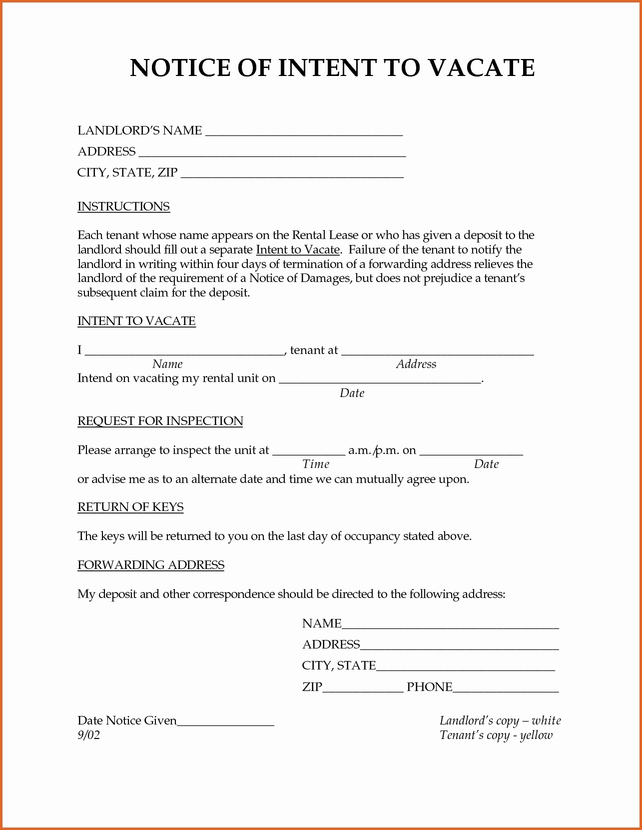 30 Landlord Notice to Vacate | Tate Publishing News