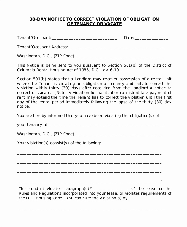 Landlord Notice to Vacate Unique 7 30 Day Notice to Landlord Samples