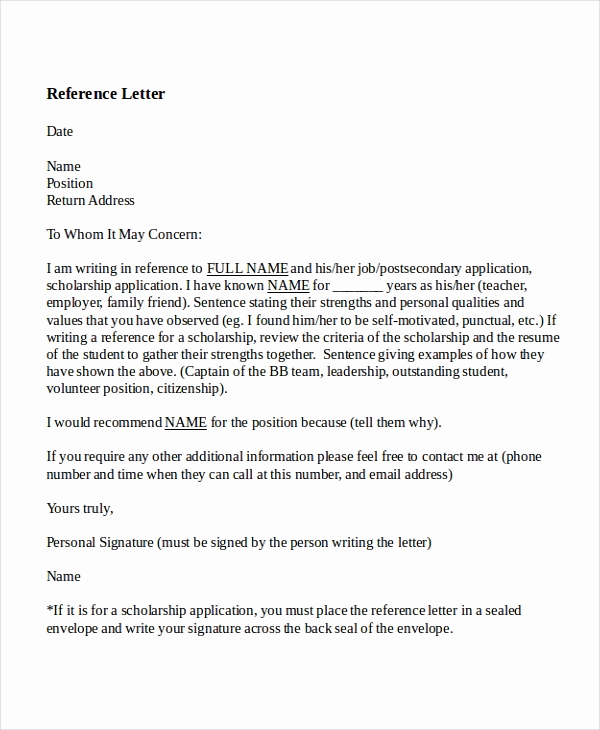 Letters Of Recommendation for Teachers Awesome 8 Reference Letter for Teacher Templates Free Sample