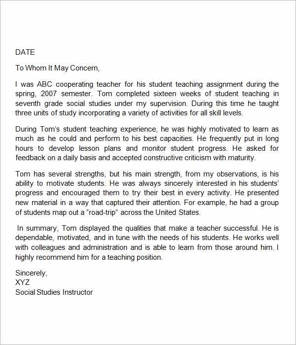 Letters Of Recommendation for Teachers Awesome Sample Letter Of Re Mendation for Teacher