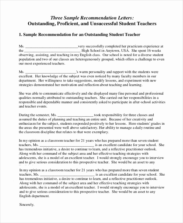 Letters Of Recommendation for Teachers Best Of Sample Letter Of Re Mendation for Teacher 18