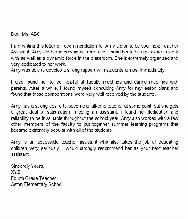 Letters Of Recommendation for Teachers Unique Re Mendation Letter for Teacher assistant