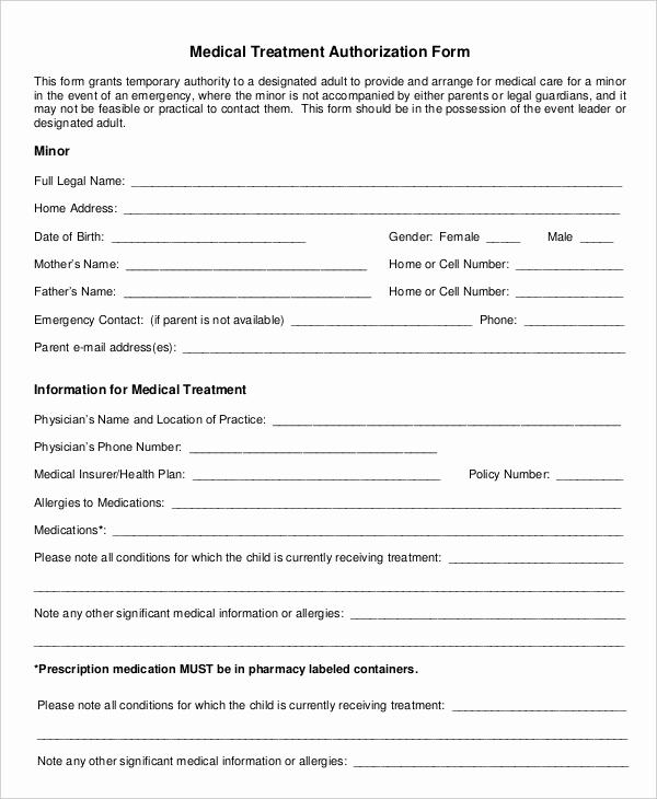 Medical Consent form Template Awesome Medical Authorization form