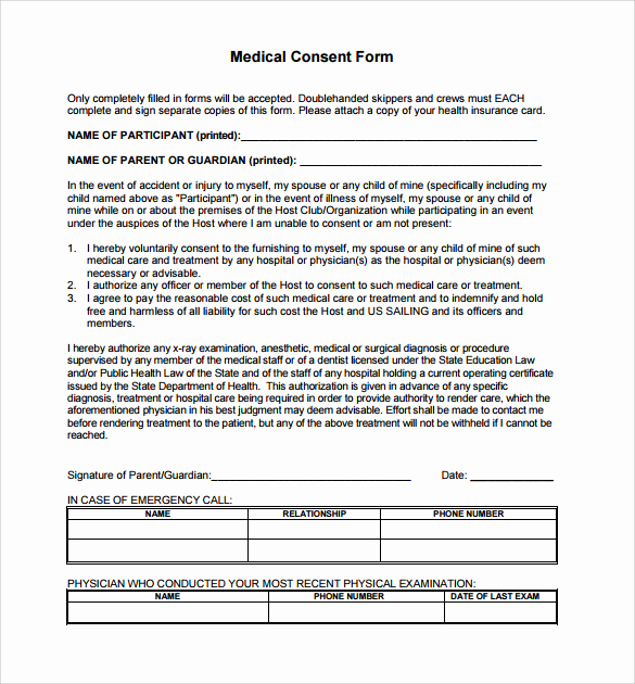 Medical Consent form Template Inspirational Medical Consent form for Grandparents