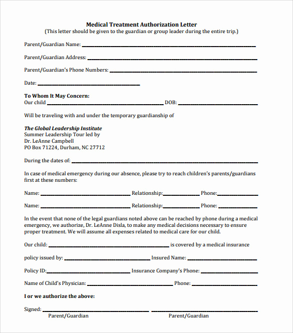 Medical Consent form Template Luxury 10 Sample Medical Treatment Authorization Letter – Free