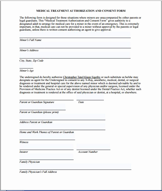 Medical Consent form Template Luxury Sample Medical Consent form