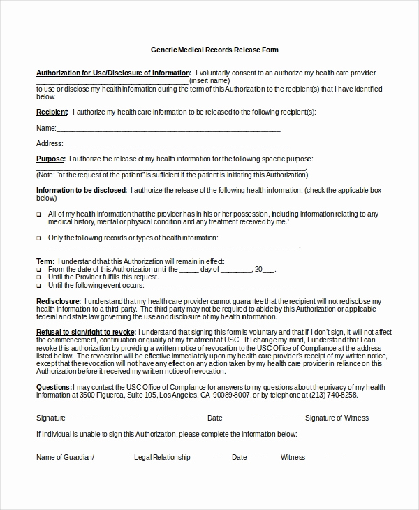 Medical Consent form Template Unique 10 Medical Release forms Free Sample Example format