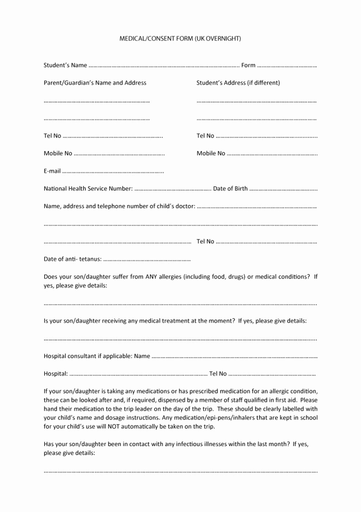 Medical Consent form Template Unique 45 Medical Consent forms Free Printable Templates