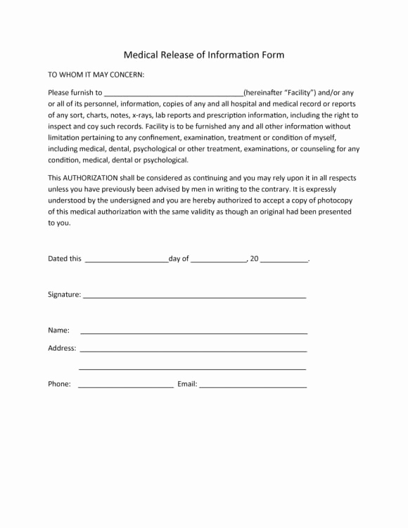 Medical Release form Template Beautiful 40 Medical Records Release form Release Of Information