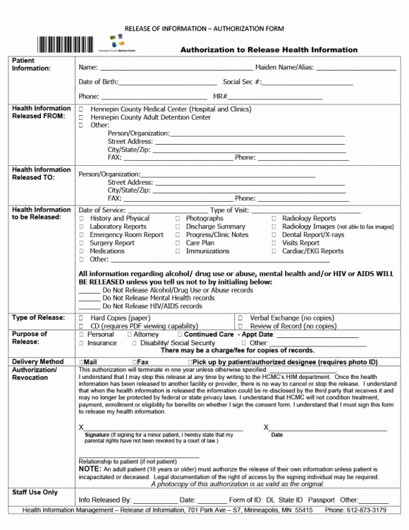 Medical Release form Template Fresh 40 Medical Records Release form Release Of Information