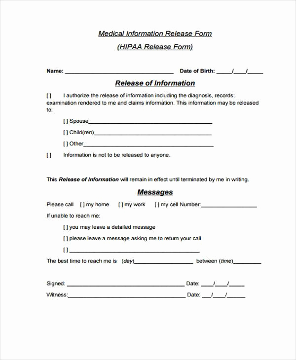Medical Release form Template Inspirational Release form Templates