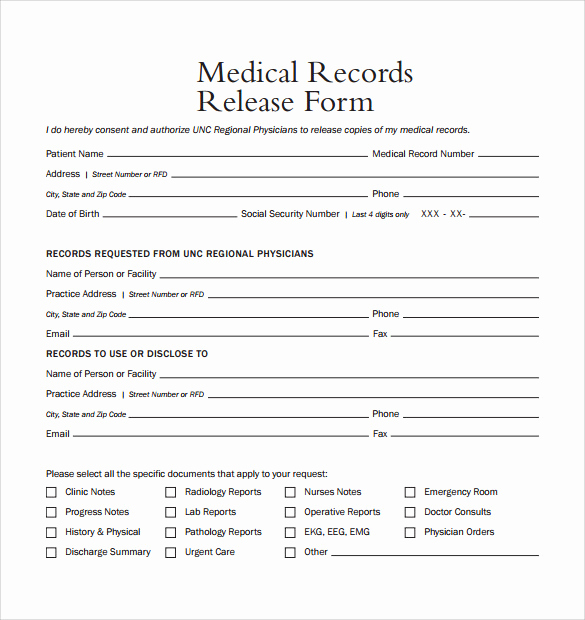 Medical Release form Template Inspirational Sample Medical Records Release form 9 Download Free