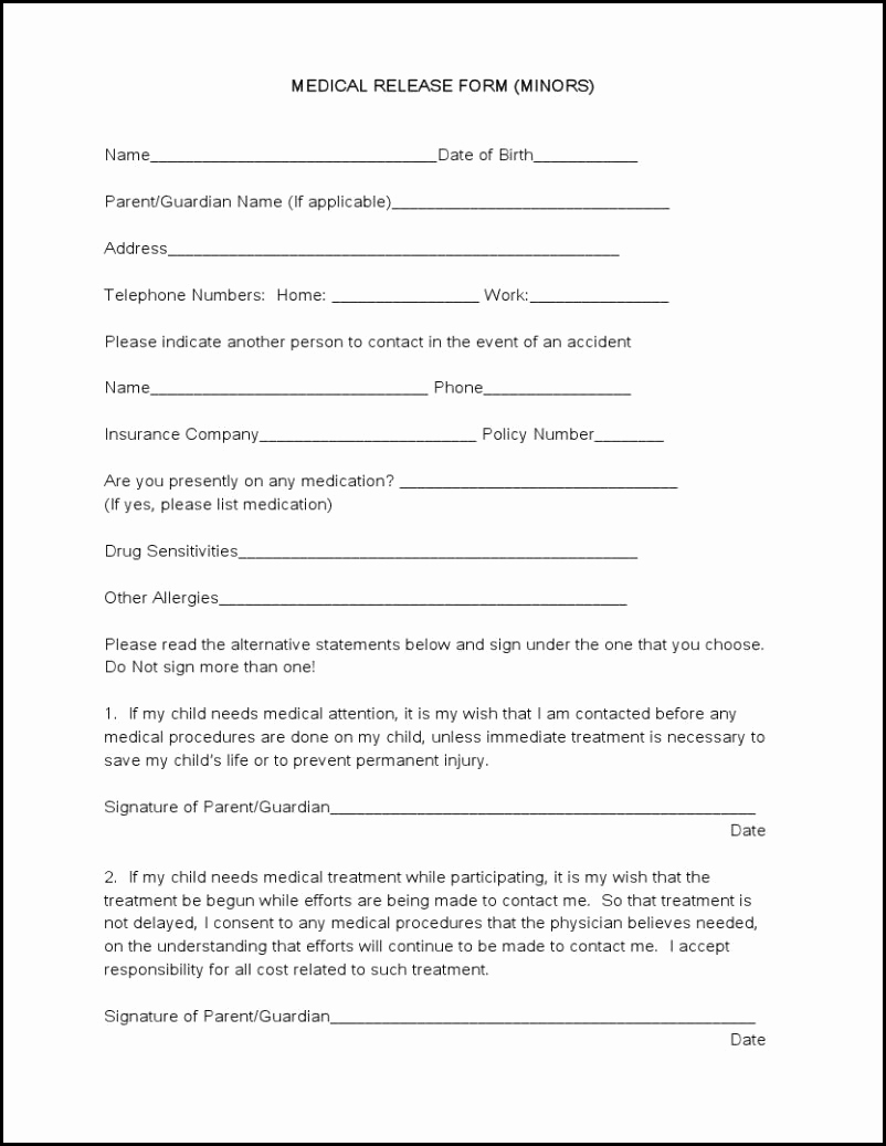Medical Release form Template Unique Medical forms Tru Dimensions Printing