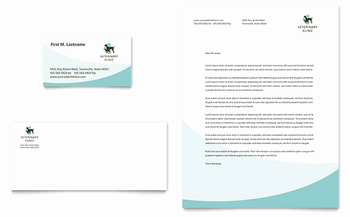 Microsoft Word Letterhead Template Beautiful Vet Clinic Business Card & Letterhead Template Word
