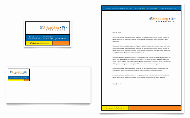 Microsoft Word Letterhead Template Inspirational Heating & Air Conditioning Business Card & Letterhead