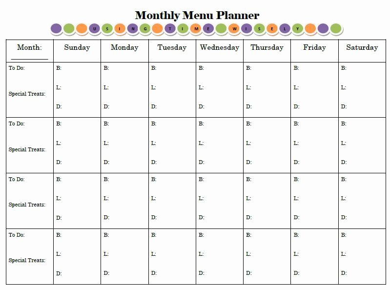 "Monthly Meal Planner Template Best Of Monthly Menu Planner Like the ""to Do"" Column …"